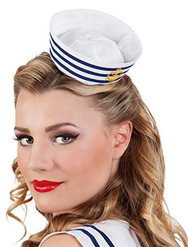 Das Kostümland Matrosen Sailor Mini-Hut mit Haarreif für ()