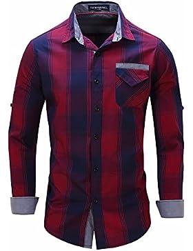 Hombres camiseta fuera de la camiseta de manga larga camisetas de algodón/grid cowboy busque la serie roja L