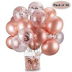 Idea Regalo - Oro rosa coriandoli palloncini party balloon 30,5 cm per matrimonio, compleanno, baby shower, laurea, cerimonia party decorazioni(30 pezzi)