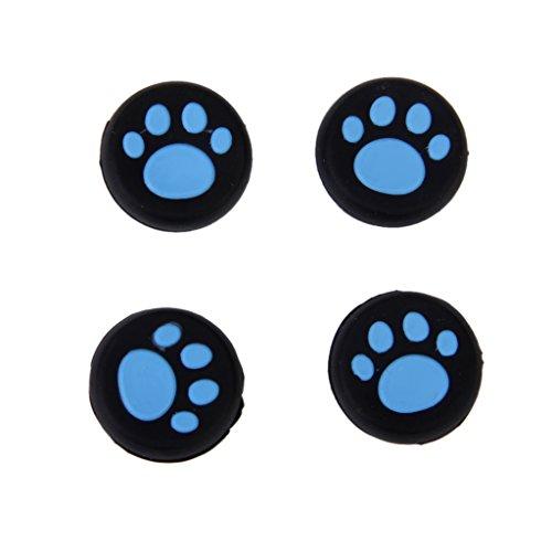 4pz tappi joystick per sony ps4 ps3 controller gommini con motivo zampa gatto - blu e nero