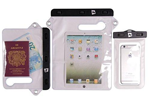 AdventureAustria Wasserdichtes Hülle Weiß 21,5cm x 14,5cm geeignet für 9,7-Zoll Bildschirm Tablet Smartphones Dokumente Wertsachen - Schützt gegen Wasser Staub Sand. Kompatibel mit Samsung Ipad.