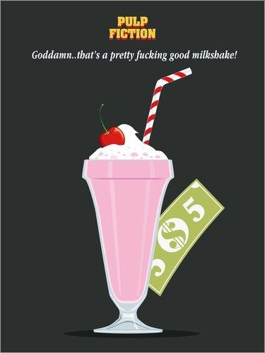 Wallace Golden (Leinwandbild 60 x 80 cm: Alternative Pulp Fiction mia Wallace Milkshake von Golden Planet Prints - fertiges Wandbild, Bild auf Keilrahmen, Fertigbild auf echter Leinwand, Leinwanddruck)