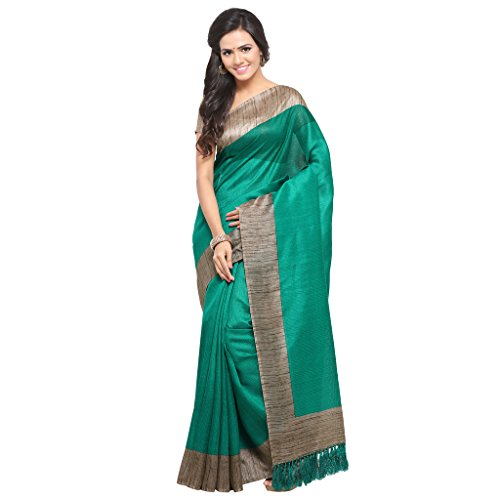 Rajnandini Women's Tussar Silk Plain Saree(JOPLNB3006-__Free Size) (Green)