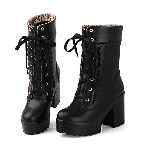Best 4U® Scarpe Donna PU 8cm Alti Tacchi Alti Sweetie Martin Stivali Piattaforme Pointed-toe Shoeslace Stile Casual black