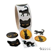 Black Cat Prism Sticker Roll (100 labels per roll)