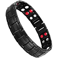 Jeracol Magnetic Therapy Bracelets for Men Healthy Sleek Cuff Wristband for Relief Pain with Free Link Removal Tool