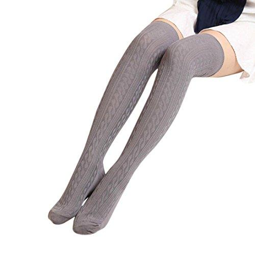mpfe FORH Damen Gestrickt über Knie lange Stiefel Oberschenkel warme Socken Leggings Thigh High College Knie Socken Stricken Sport Socken Stocking Pantyhose (Grau) (Breite Oberschenkel Hohe Stiefel)