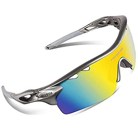 RIVBOS 801 Polarized Sports Sunglasses with 5 Interchangeable Lenses for Men Women Cycling Running Glasses(Grey)
