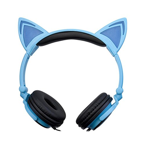 1 PC Omiky® Cat Ear Gaming Headphones with LED Flashing Glowing Lights for PC Laptop Mobile Phone (Blue)