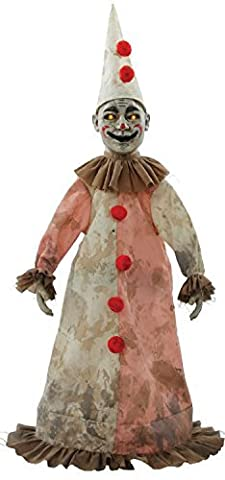 81cm Bewegung empfindlicher Aufleuchtend & Geräusche Horror Clown Possessed Haunted Puppe Halloween-Party Dekoration Zubehör Requisite