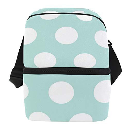 Coosun - Bolsa térmica para el almuerzo, diseño de lunares, impermeable, con cremallera, para el trabajo, viajes, picnic, color blanco