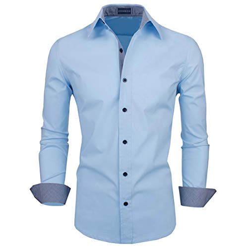 Zombom Men Casual Shirt (ZBSH702 Sky Blue 38, Sky Blue, 38)
