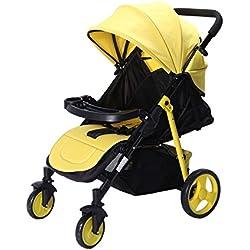 LZTET Silla De Paseo Cochecito De Bebé Sistema De Viaje Carros De Bebé Multifunción Carrocito De Bebé Carro Plegable Carro Portátil A Prueba De Choques (Amarillo)