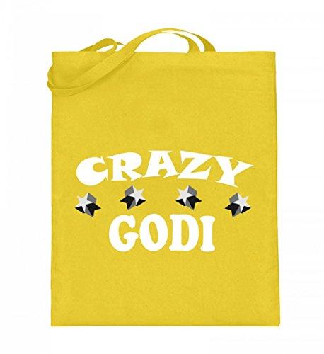 Hochwertiger Jutebeutel (mit langen Henkeln) - CRAZY GODI Gelb