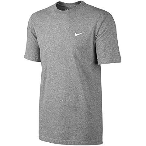 Nike TEE-EMBRD Swoosh - Camiseta para hombre, color gris / blanco, talla M