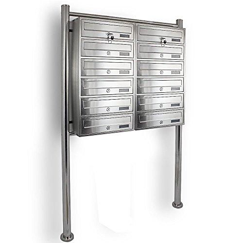 Edelstahl Stand-Briefkastenanlage Postkasten Letterbox Mailbox Doppelt mit 12 Fächer - 2