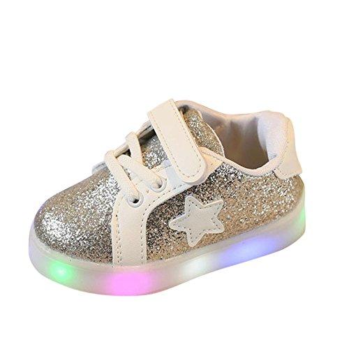 Zum 1-6 Jahre Alt Ursing Baby Unisex Junge Mädchen Prinz Prinzessin Mode Star Glühend Sneaker LED Leuchtet Kind Kleinkind Beiläufig Bunt Licht Bling Skateschuhe (22, Silber)