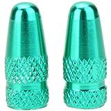Valvula tapa - SODIAL(R) 2pzs Cubierta de boca de valvula de frances de bicicleta bicicleta de MTB de aleacion de aluminio Tapon antipolvo de valvula de aire de llantas vastago rueda neumatico Verde