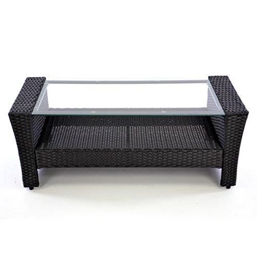 Rattan Set 4tlg mit Glastisch grün Garnitur Gartenmöbel Sitzgruppe Poly Rattan inklusive höhenverstellbare Füße und Sicherheitsglas 4-sitzer 4-teilig - 5