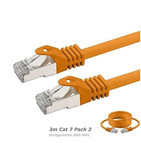 2 x 3m Cat 7 Câble Ethernet, sans halogène 600 MHz / 4 paires Stranded 10 Gbs pour le streaming / UHD Tv / IPTV / Lecteur média / Récepteurs Satellite / Serveurs réseau / Ordinateurs de bureau Pc / Super rapide Câble Ethernet Avec Connecteurs Pin Or