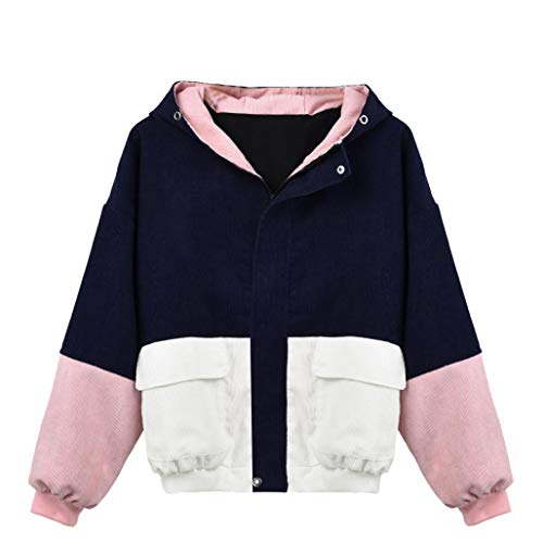 Coats Damen, KIMODO Frauen Langarm Cord Patchwork Oversize Jacke Windbreaker Mantel (Marine, S)