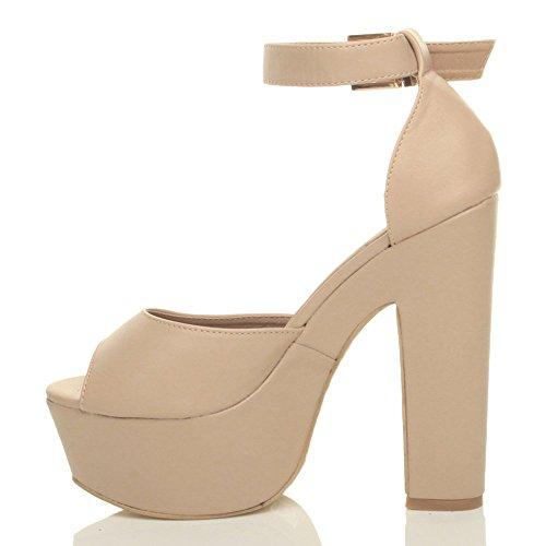 Femmes talons hauts bout ouvert chaussures sandales compensées fête pointure Beige mat