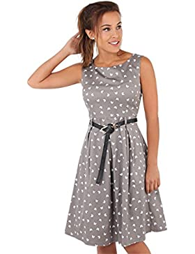 KRISP® Damen 50er Jahre Vintage Kleid Swing Midi Knielang