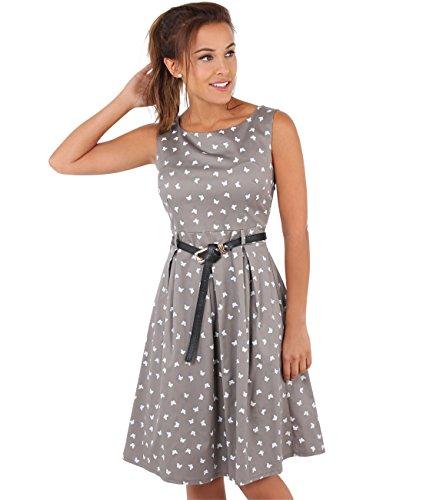 KRISP Damen 50er Jahre Vintage Kleid (Mokka, Gr.40) (6874-MOC-12) - Jahr-etiketten