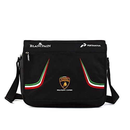 Automobili Lamborghini Borsa A Tracolla Squadra Corse Tricolore Unisex Nero Taglia Unica