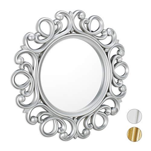 Relaxdays Specchio Decorativo Rotondo, da Parete, con Cornice, Ingresso, Bagno, Camera, Salotto, Ø 50 cm, Argento