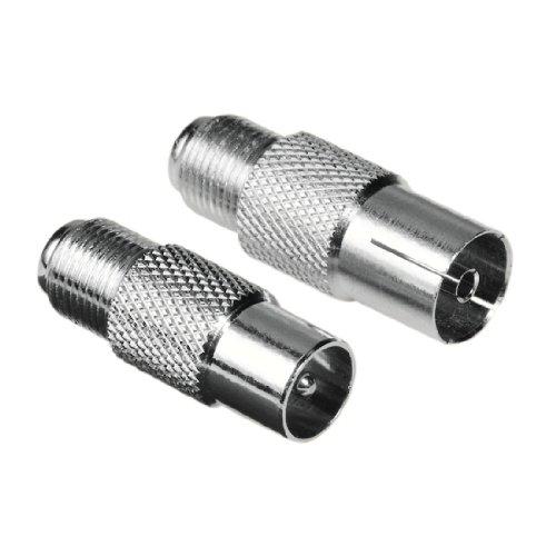 f adapter Hama SAT Adapter (F-Kupplung auf Koax-Stecker und F-Kupplung auf Koax-Kupplung) 2er Set (Amazon Frustfreie Verpackung)