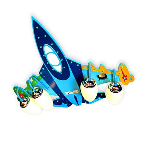 LVYI Kinderlampe Flugzeug Planes Holz Blau Hängeleuchte Flugzeug Lampe Flugzeug Lampen Babyzimmer Deckenleuchte Babyzimmer Deckenleuchten Schlafzimmerlampe Deckenlampe Mit Fernbedienung,70*65CM