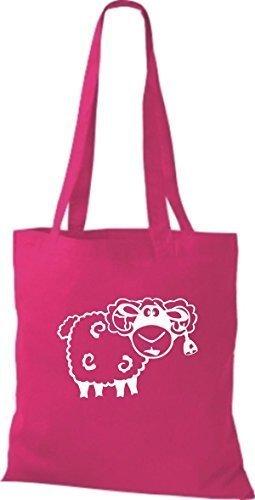 shirtstown Borsa di stoffa animale pecora pecore Rosa