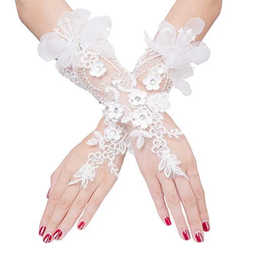 DÉCOCO Weiß Braut Hochzeit Handschuhe mit Kristall-Schleife, Brautkleid -