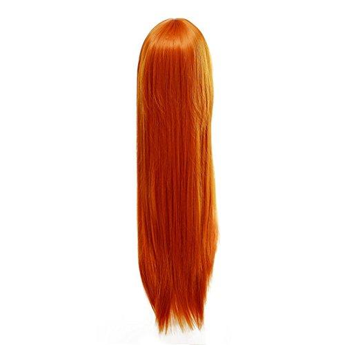 FEITONG Frauen Perücke 90cm Lange Gerade Perücke Cosplay Partei Kostüm Perücken (Länge: 90cm, Orange) (Rockstar Kostüm Weiblich)