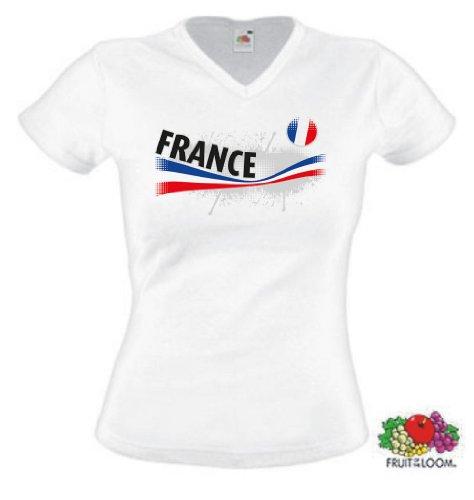 world-of-shirt Damen T-Shirt France / Frankreich Vintage Trikot|L