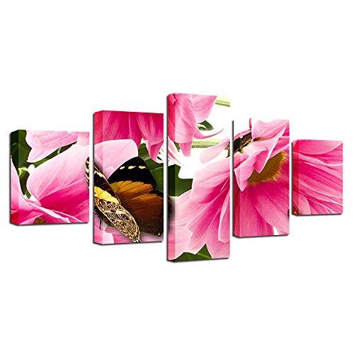 Blume, Giclee Canvas Art (YANGMAN 5 Stück Leinwand Wandkunst Schmetterling auf Sunflower Giclee Leinwand Drucke Blumen Bilder Gemälde auf Canvas Wall Art Bedroom Küche Wohndekorationen,A,20x35*2+20x45*2+20x55*1)