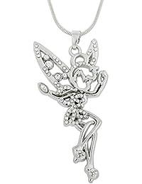 c003cf54058f6 Antiguo plata hermosa hada ángel colgante collar collar de cristal claro  para las niñas y las