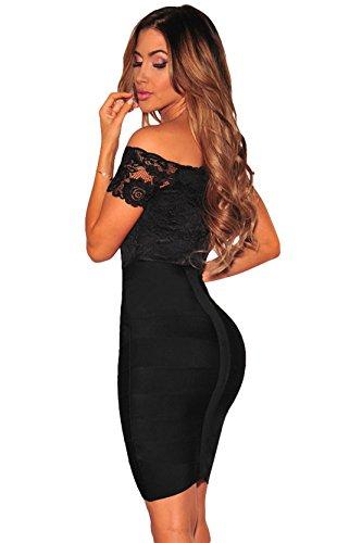 COSIVIA Damen Schwarz Spitze Off-Schulter Elegant Bodysuit Schlichte Ärmel Overalls mit Reißverschluss Schwarz