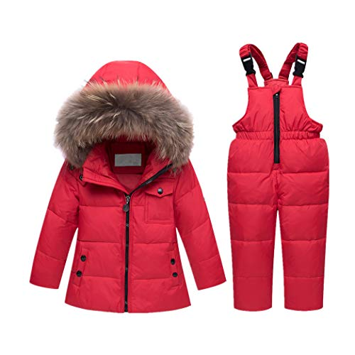 Kind Bib Pant Kinder Schneeanzug - Kleinkind 2 Teilige Langarm Daunenjacke Winter Oberbekleidung Warm Hoodie Overall (110cm Rot) - Schneeanzug Oberbekleidung