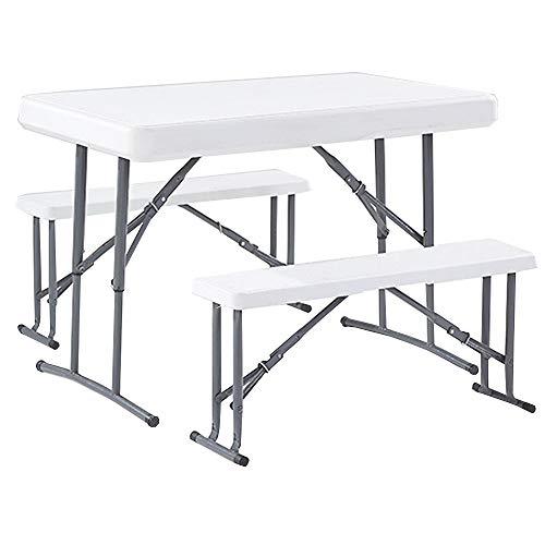 CHENGGUO Table Pliante en Trois Parties, Table Pliante portative extérieure et Ensemble de chaises, Table Pliante portative Polyvalente pour Camping Barbecue à Hauteur réglable