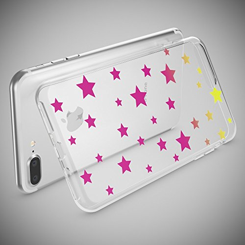 iPhone 8 Plus / 7 Plus Hülle Handyhülle von NICA, Slim Silikon Motiv Case Crystal Schutz Dünn Durchsichtig, Etui Back-Cover Transparent Bumper für Apple iPhone 7+ / 8+ - Transparent Stars