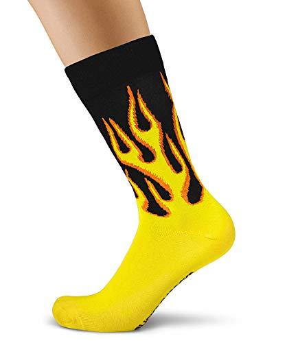 Calcetines amarillos hombre diseño llamas