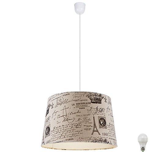Hänge Pendel Leuchte creme Beleuchtung Textil Lampe Paris Aufdruck im Set inklusive LED Leuchtmittel