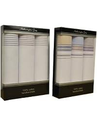 2 paquets de 3 Mens/Gentlemens couleur rayé par une ligne de mouchoirs 100 % coton, dans une boîte cadeau