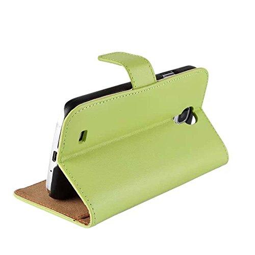 CATOE Echtleder-Klappschutzhülle mit Standfunktion und Kartenfach für Samsung Galaxy S2, S3, S4, S5, Note2, Note3, Note4,Hohe Qualität, für Sport / Fitnessstudio grün - grün