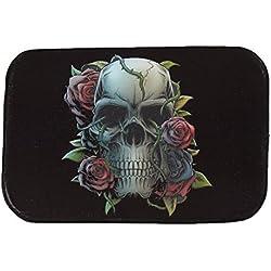 iHome Felpudo Halloween, Coral Terciopelo, 40cm x 60cm, Rose Flores Calavera Cráneo (Negro)
