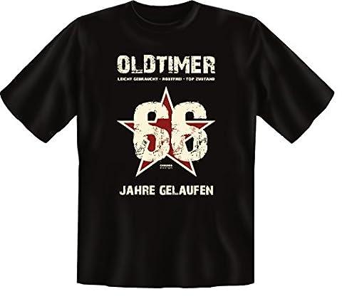 Geschenk-Idee zum 66. Geburtstag :-: Herren kurzarm T-Shirt :-: Oldtimer 66 Jahre Gelaufen :-: Geburtstagsgeschenk Geschenkidee Papa Vater Männer :-: Farbe: schwarz Gr: (Geschenk Ideen Dad Geburtstag)