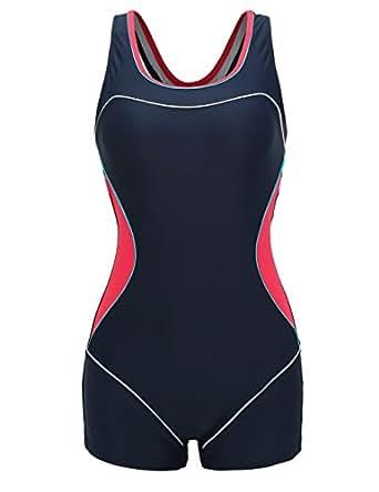 65d7a93cf7a740 Aidonger Damen Sportlicher Badeanzug mit Bein Boyleg Bikini Set Muscleback  EU32-EU48