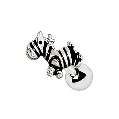 Mini Striped Zebra Topped Surgical Steel 1.2mm x 6mm Tragus